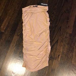 Boohoo: Tan Slinky Midi Ruched Skirt